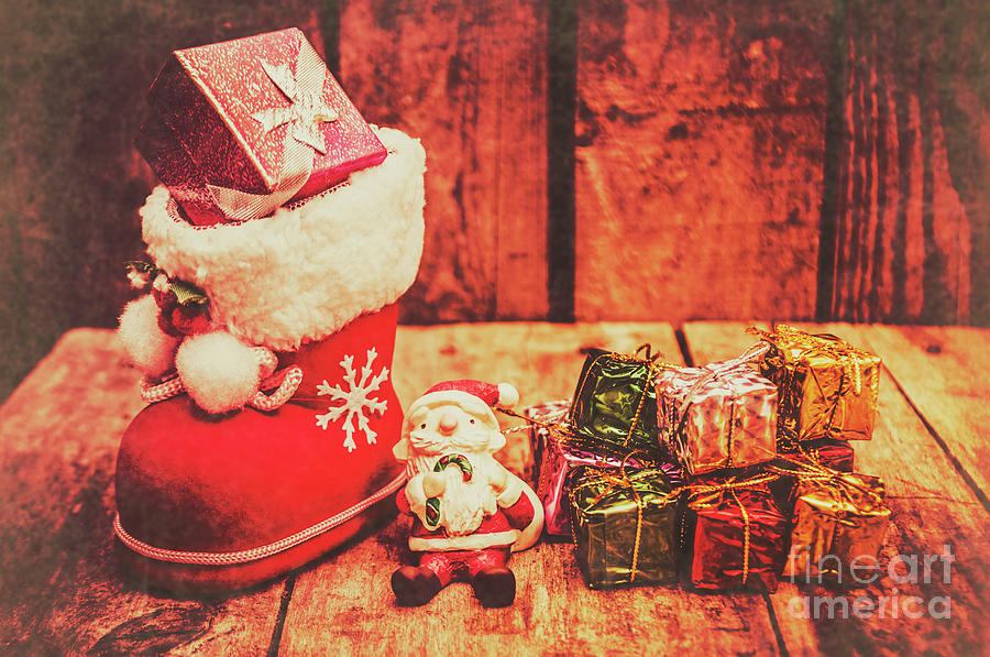 Stocking Photograph - Rustic Xmas Decorations by Jorgo Photography - Wall Art Gallery