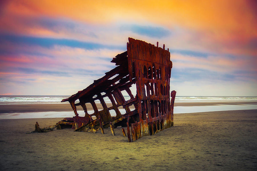 Rusty Photograph - Rusting Shipwreck by Garry Gay