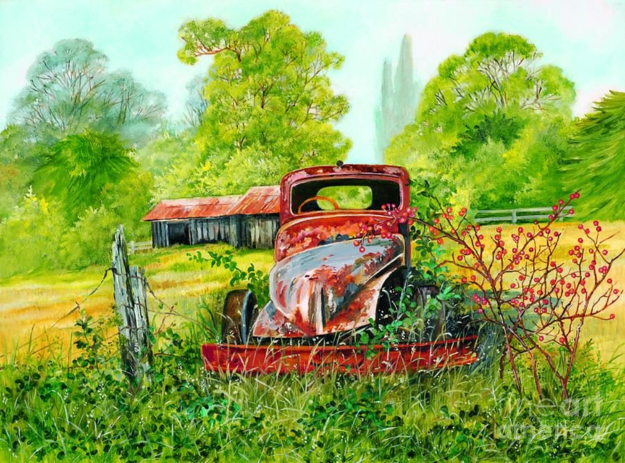 Old Truck Painting - Rusting by Val Stokes