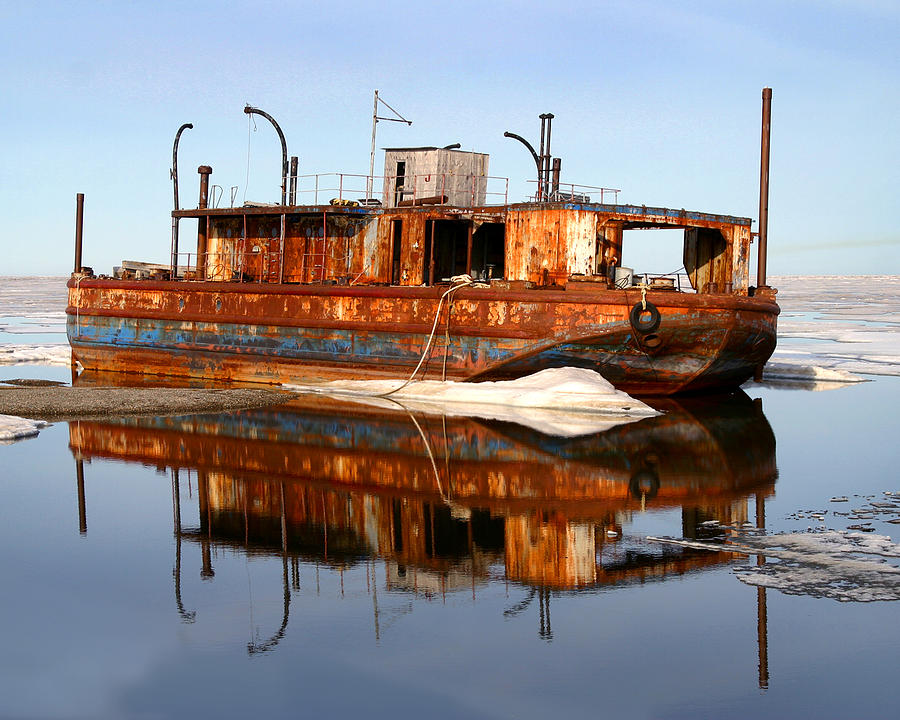 Boat Photograph - Rusty Barge by Anthony Jones