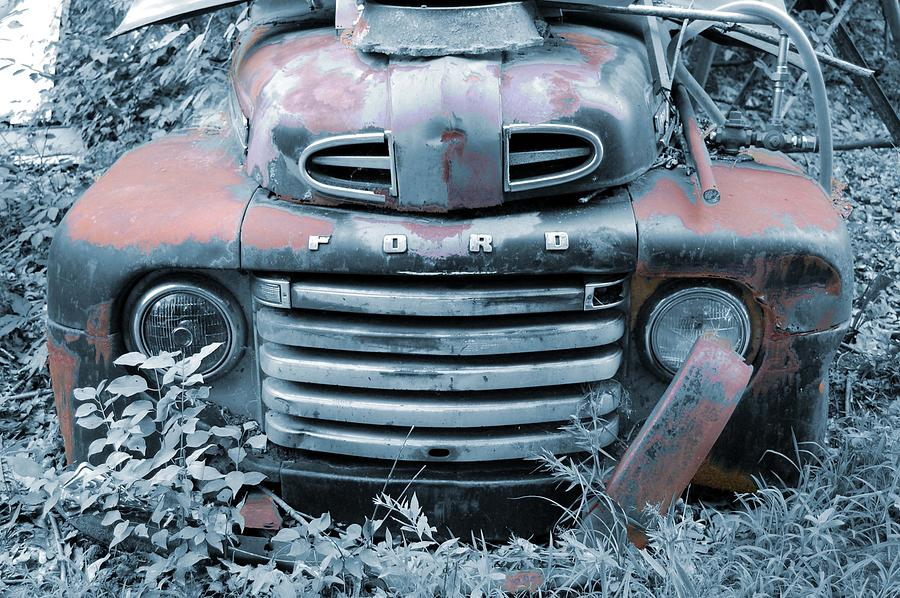 Old Photograph - Rusty Blue Ford by Jame Hayes