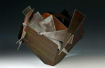 Rusty Cactus Basket Sculpture by John Garrett