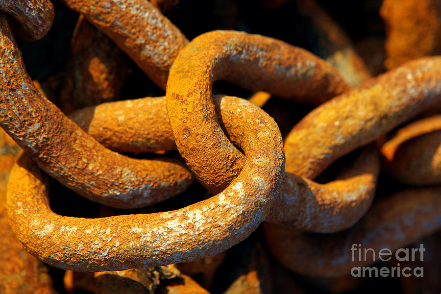 Anchor Photograph - Rusty Chain by Carlos Caetano