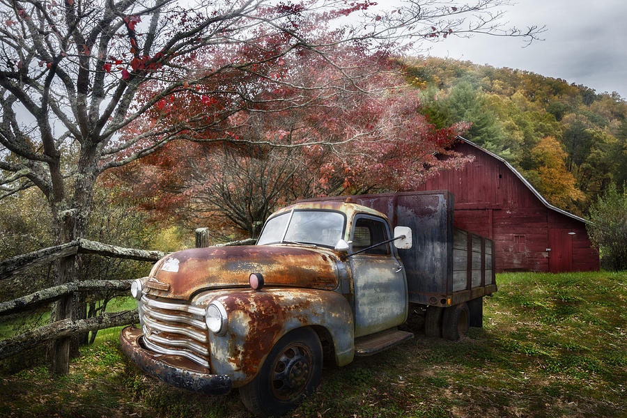 American Photograph - Rusty Chevy Pickup Truck by Debra and Dave Vanderlaan
