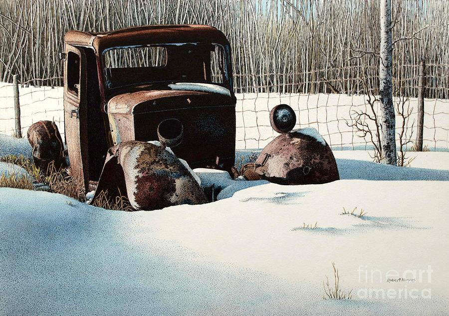 Abandoned Car Painting - Rusty In Alberta by Robert Hinves