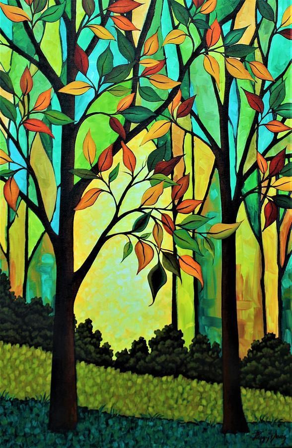 Tree Painting - Rusty Leaves by Peggy Davis