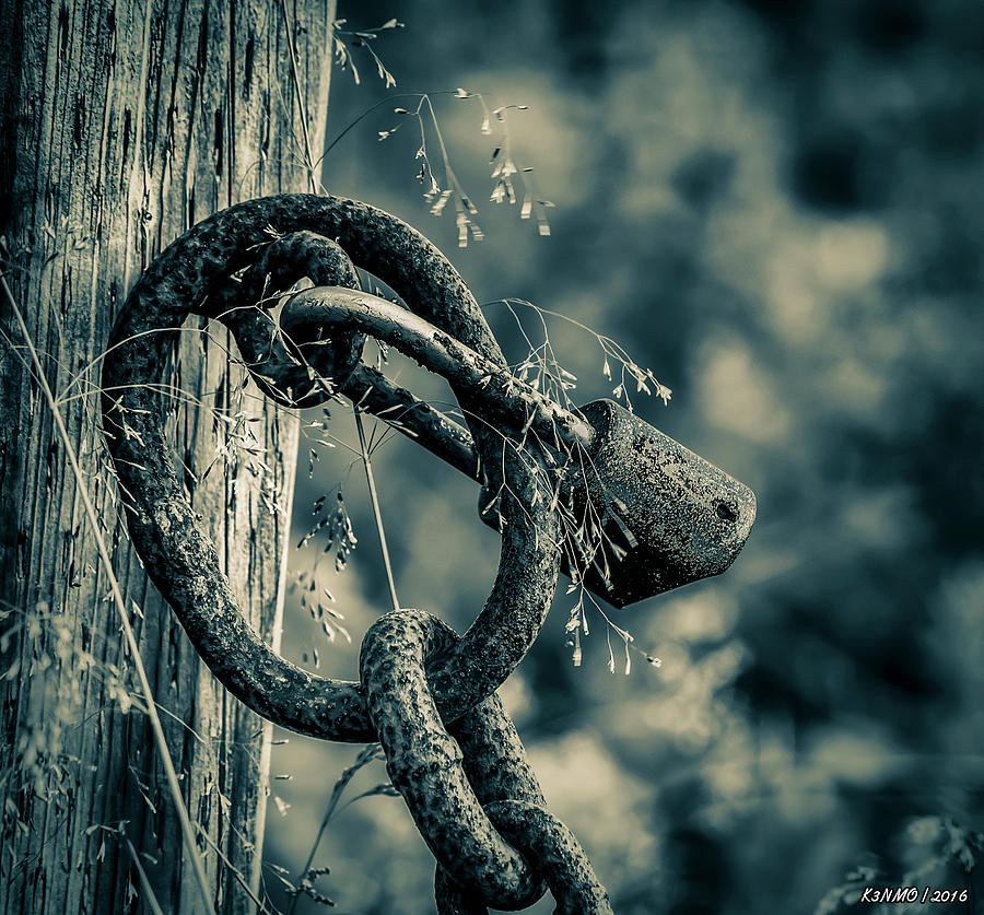 Rust Photograph - Rusty Lock And Chain by Ken Morris