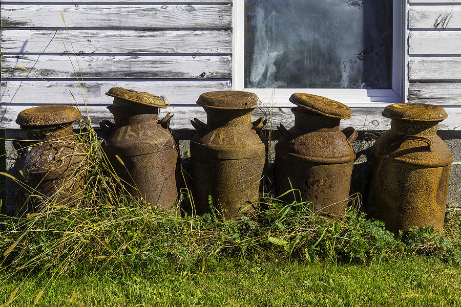 White Photograph - Rusty Milk Cans by Garry Gay