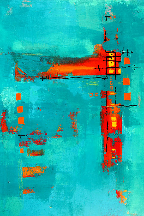 Turquoise Abstract Painting - Rusty by Nancy Merkle
