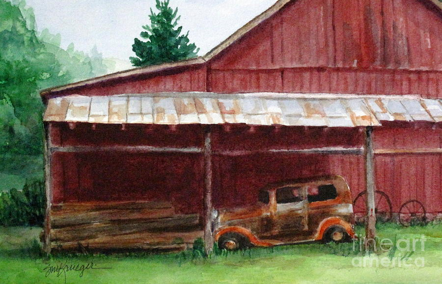 Barns Painting - Rusty Ole Car by Suzanne Krueger
