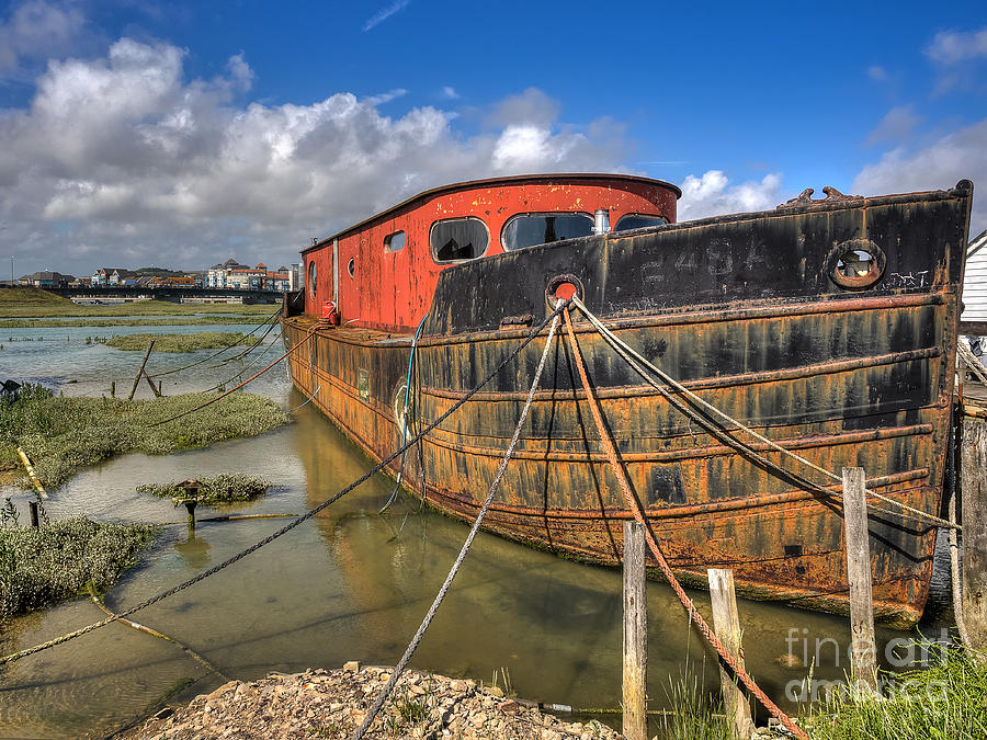 Mark Photograph - Rusty Red House Boat in Shoreham England by Mark Carnaby