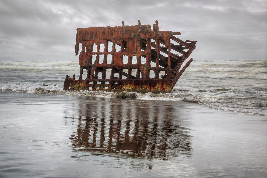Peter Iredale Shipwreck Photograph - Rusty Reflections by Kristina Rinell