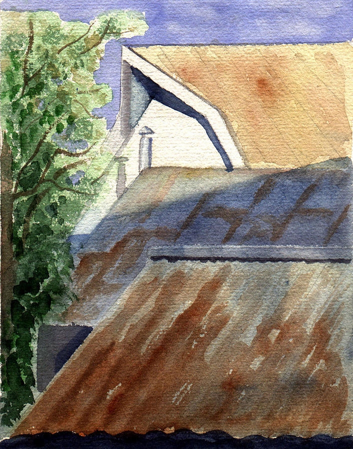 Roof Painting - Rusty Roofs by Jane Croteau