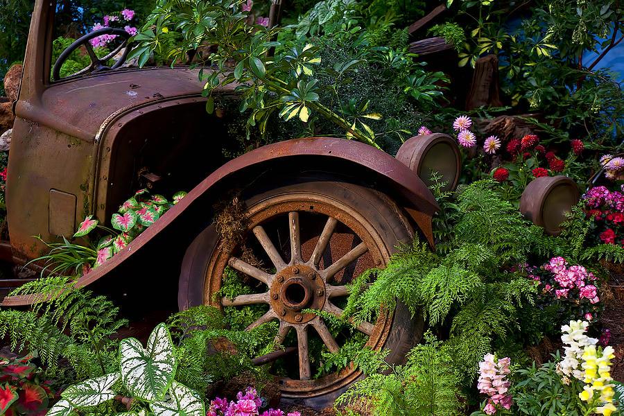 Rusty Truck Photograph - Rusty Truck In The Garden by Garry Gay