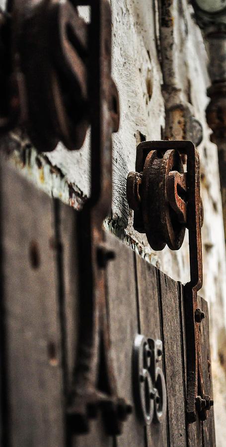 Door Photograph - Rusty Wheel by Terepka Dariusz