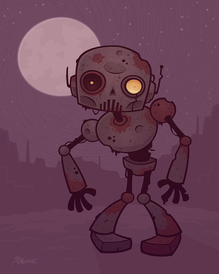Zombie Digital Art - Rusty Zombie Robot by John Schwegel