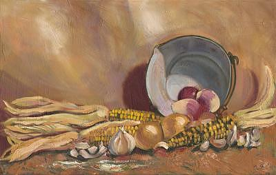 Onions Painting - Rutabagas And Native Corn by Don Sibley
