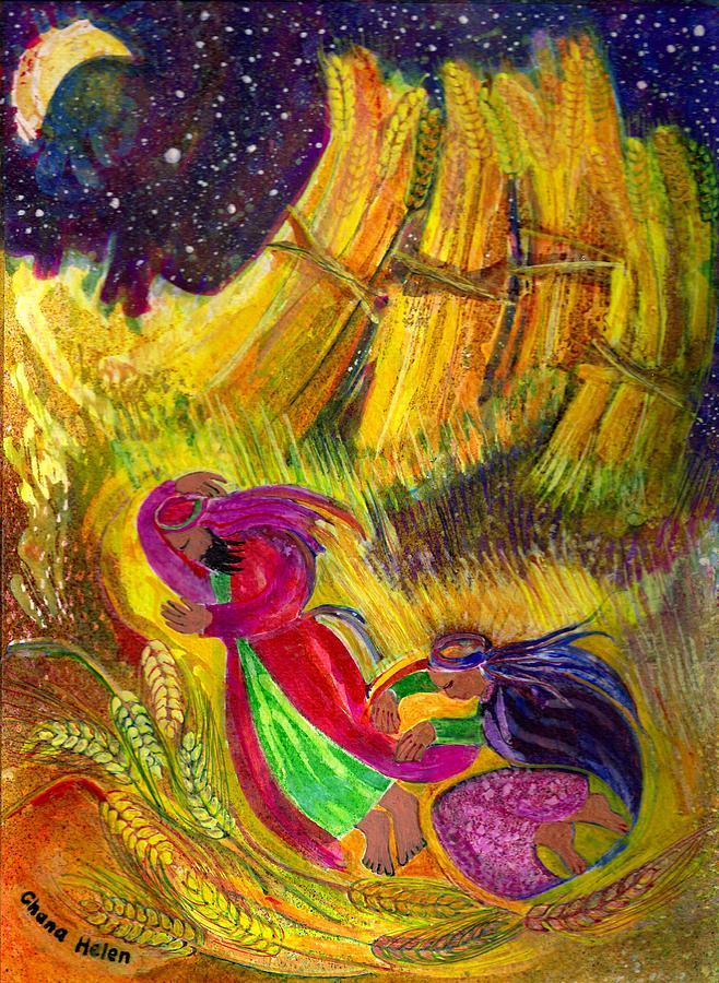 Ruth Painting - Ruth And Boaz by Chana Helen Rosenberg