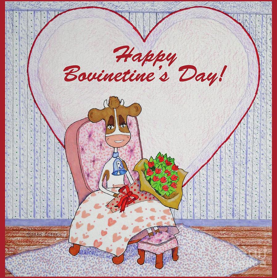 Ruthie-Moo Flowers Happy Bovinetine's Day by Joan Coffey