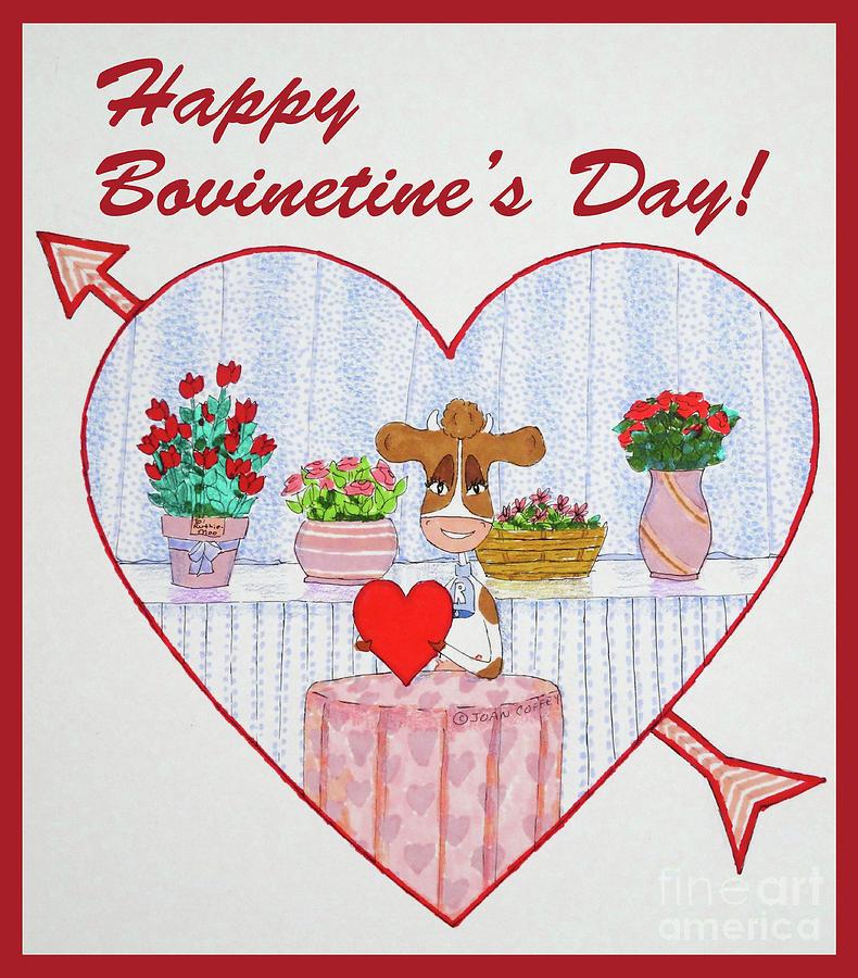 Ruthie-Moo Happy BovinetinesDay by Joan Coffey