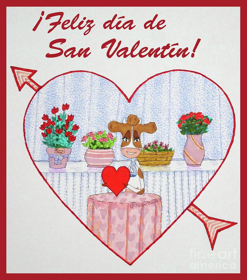 RuthieMoo heart Flores Feliz Dia de San Valentin by Joan Coffey