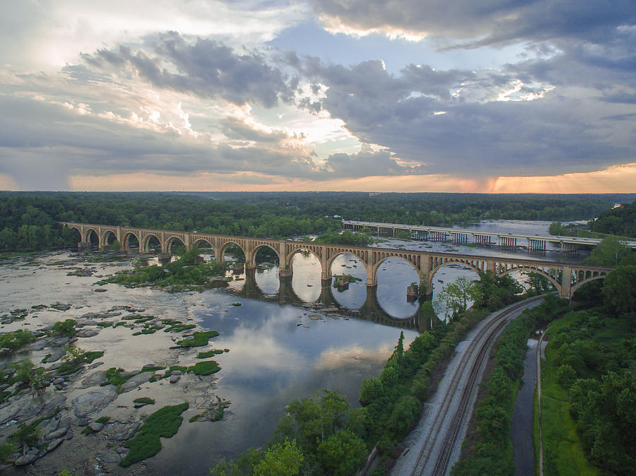 Rva Photograph - Rva Sunset Train Bridge Style by Creative Dog Media