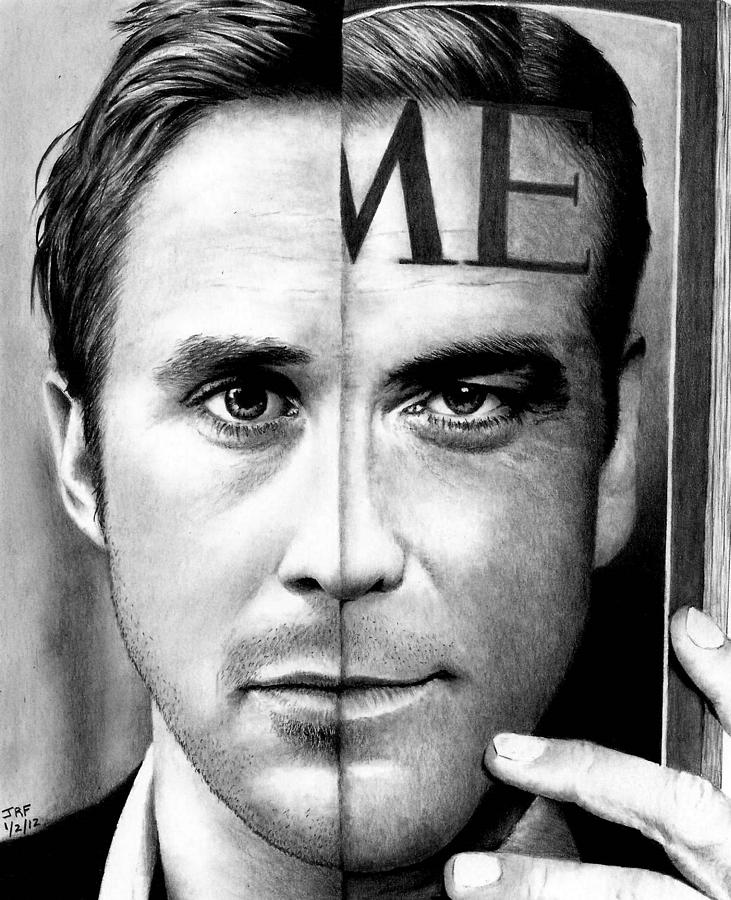 Ryan Gosling Drawing - Ryan Gosling And George Clooney by Rick Fortson