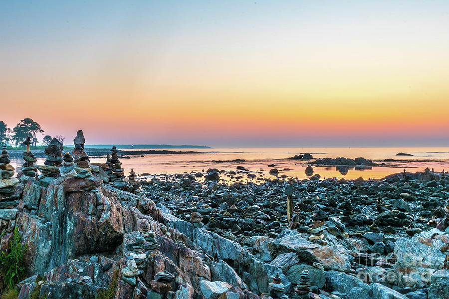 Rye Photograph - Rye, New Hampshire Sunrise Cairns by Beverly Tabet