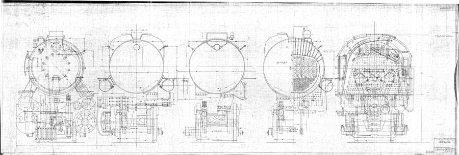 Steam Drawing - S-1a Cross Sections by Baltimore and Ohio Railroad