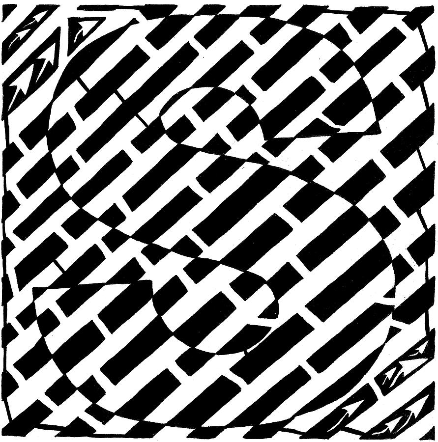 Maze Drawing - S Maze by Yonatan Frimer Maze Artist