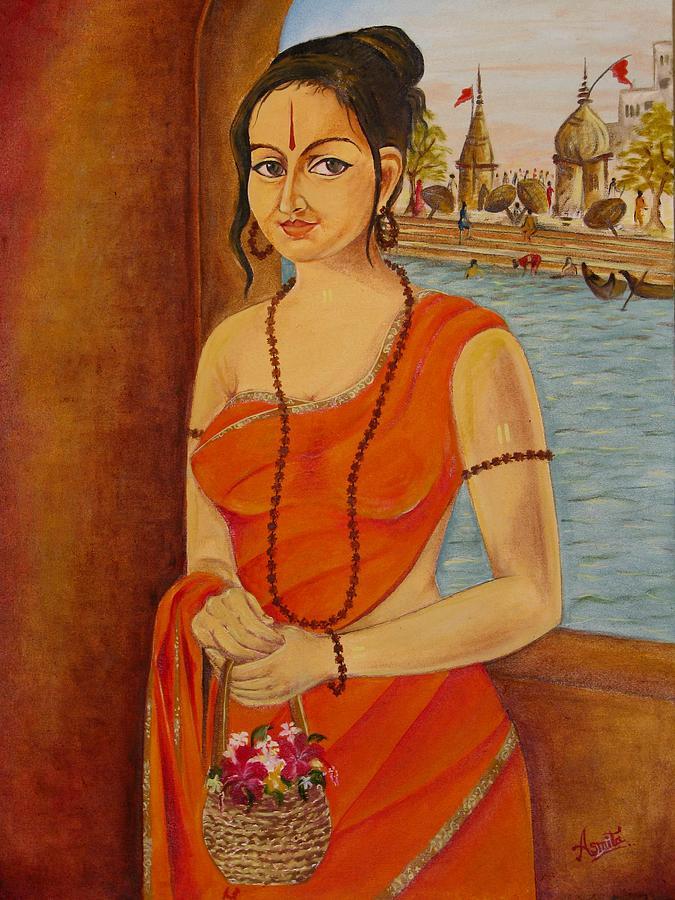 Figurative Painting - Saadhvii by Asmita Savita