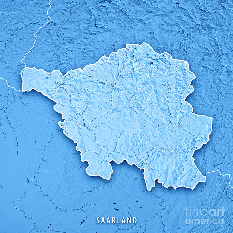 saarland digital art saarland bundesland germany 3d render topographic map blue borde by frank ramspott
