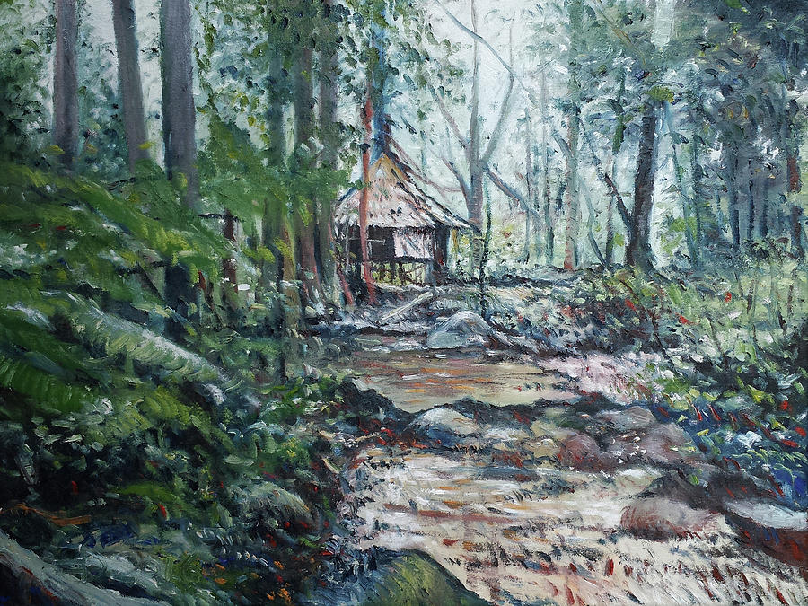 Sabah Painting - Sabah Hut In Malaysia 2016 by Enver Larney