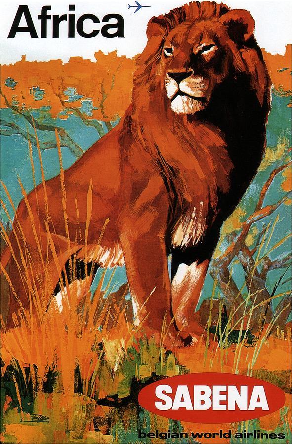 Sabena - Belgian World Airlines - Belgium Airport - Lion - Retro Travel Poster - Vintage Poster Mixed Media