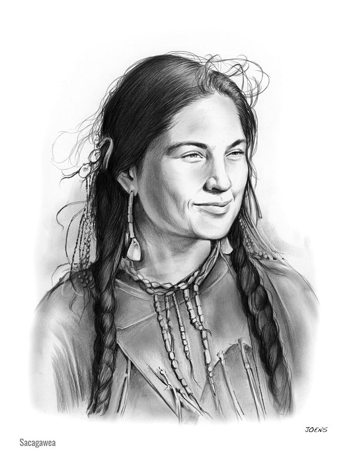 Sacagawea Drawing By Greg Joens