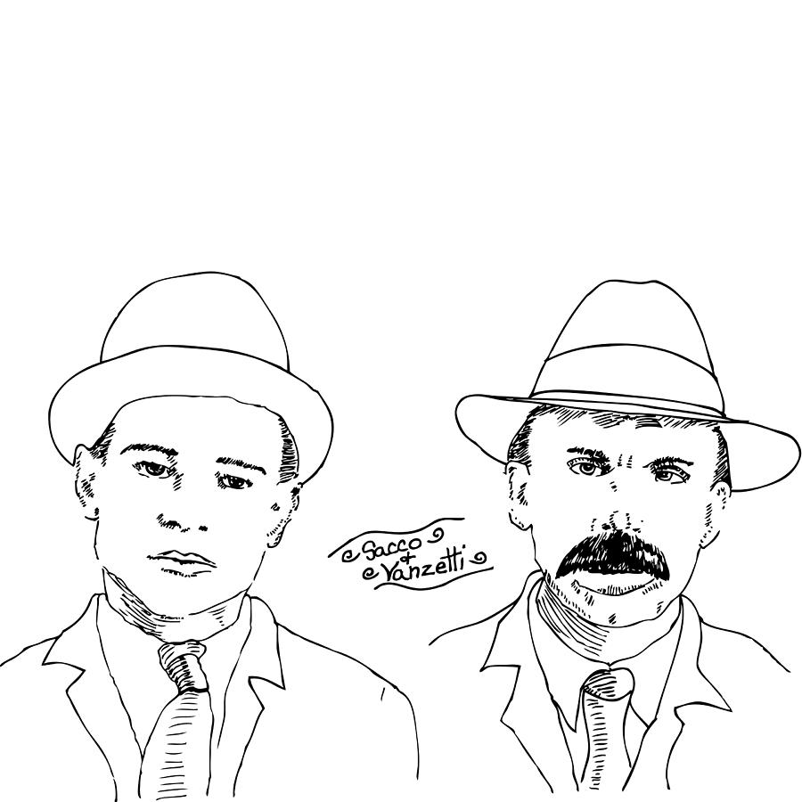 Drawing Drawing - Sacco And Vanzetti by Karl Addison