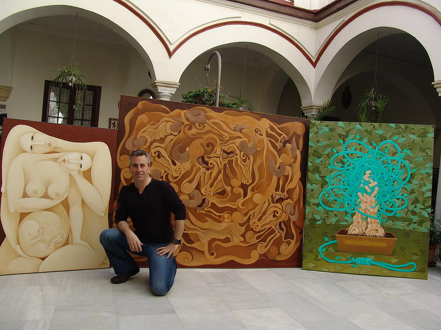 Sacha With Some Paintings In Spain Painting by S A C H A -  Circulism Technique
