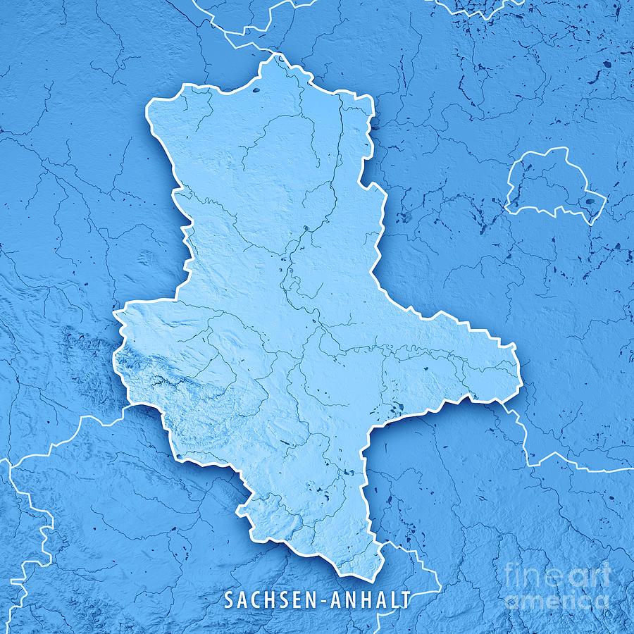 Topographic Map Germany.Sachsen Anhalt Bundesland Germany 3d Render Topographic Map Blue