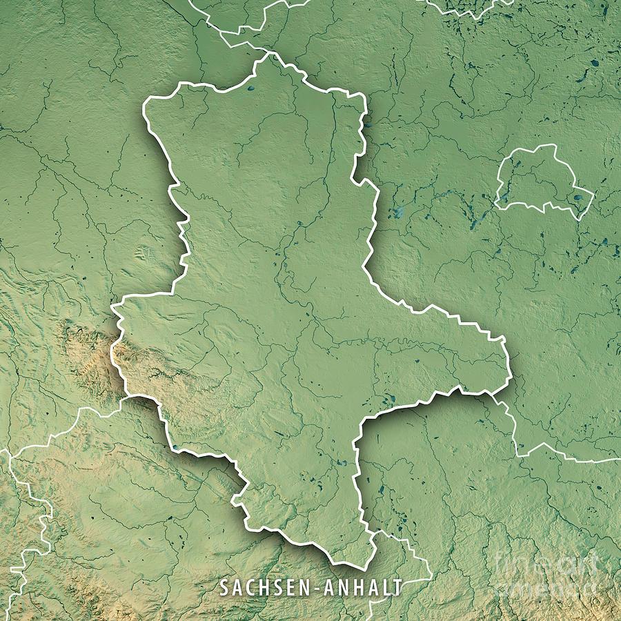 Sachsen-anhalt Bundesland Germany 3d Render Topographic Map Bord ...