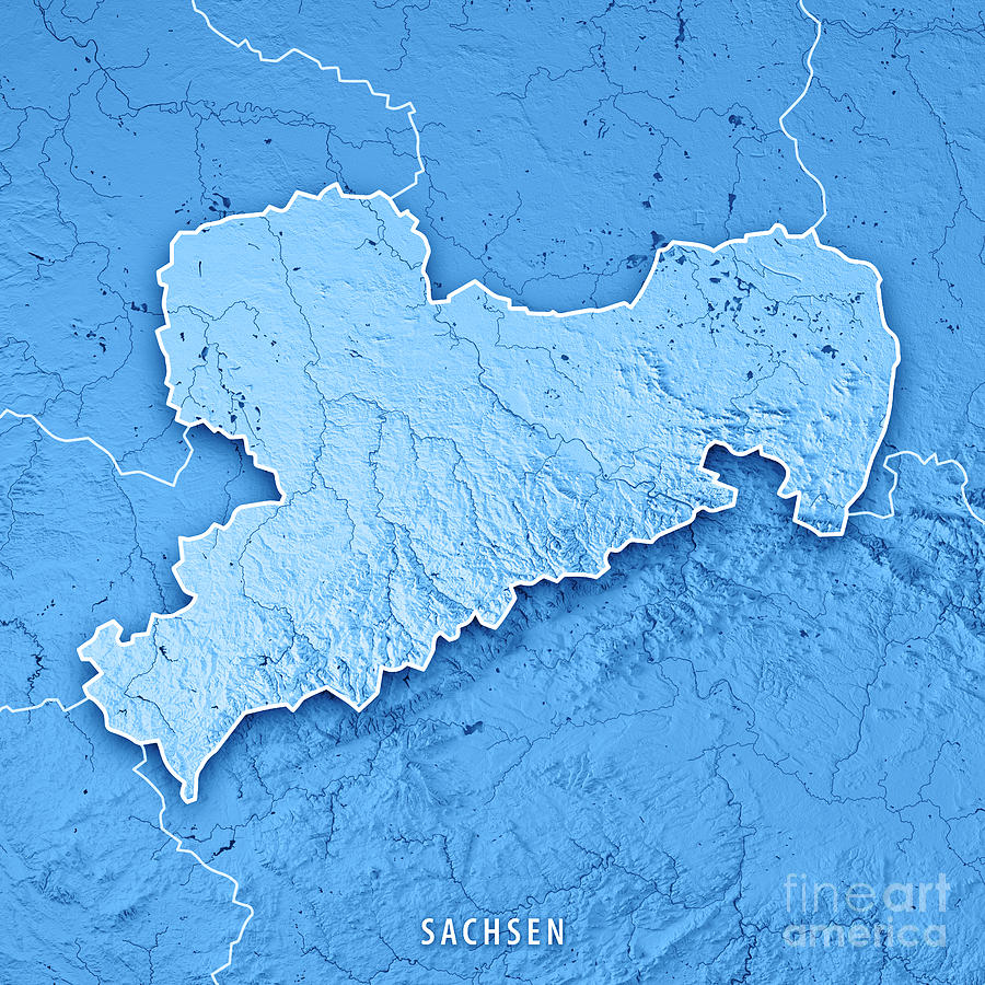sachsen digital art sachsen bundesland germany 3d render topographic map blue border by frank ramspott