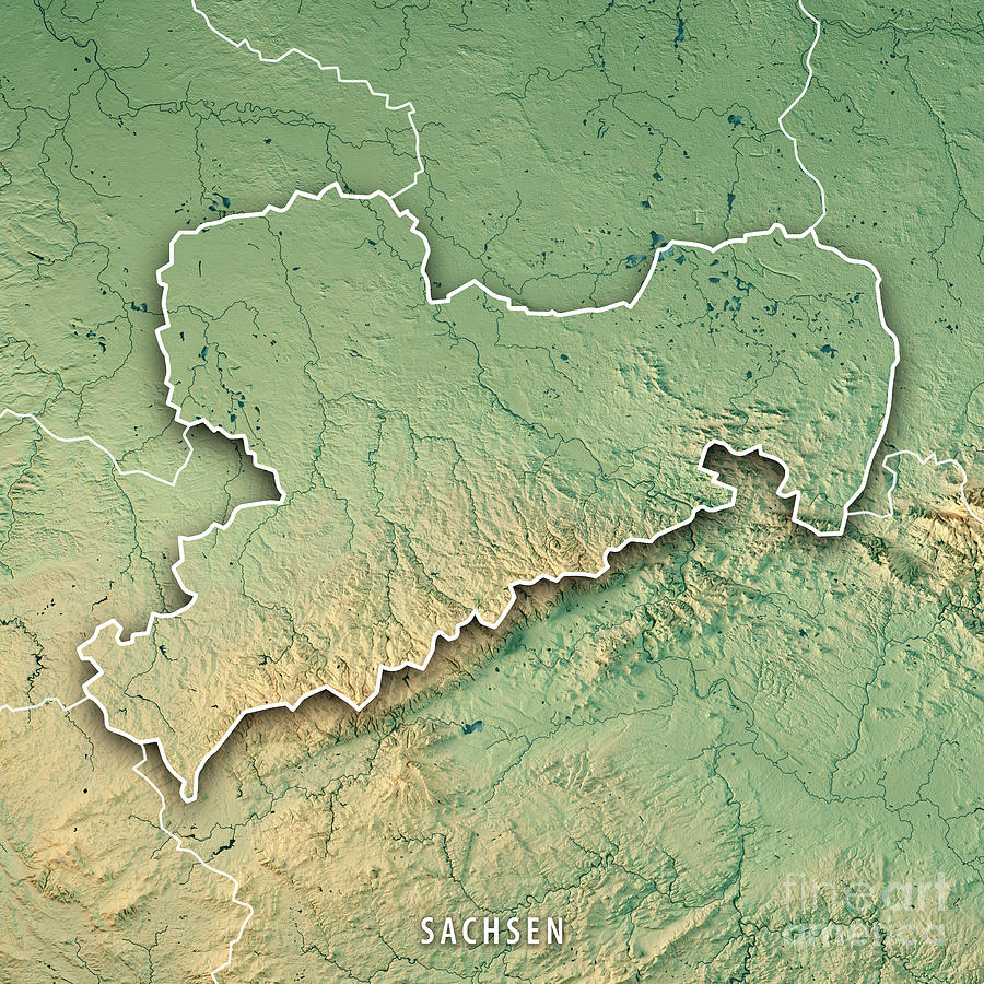 sachsen digital art sachsen bundesland germany 3d render topographic map border by frank ramspott