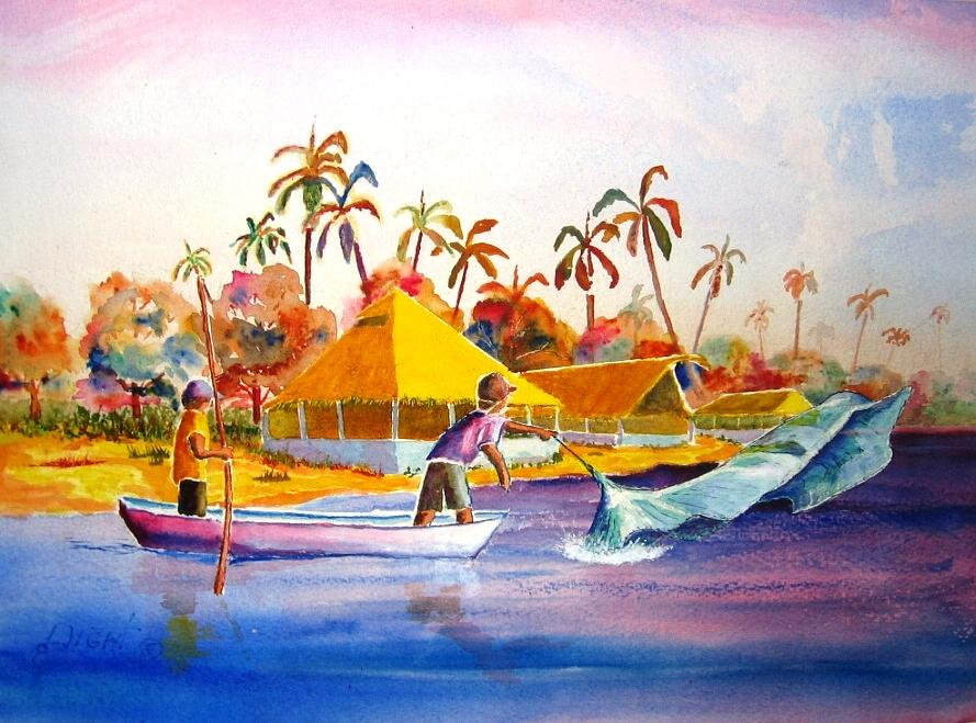 Net Fisherman Painting - Sacraficio by Buster Dight