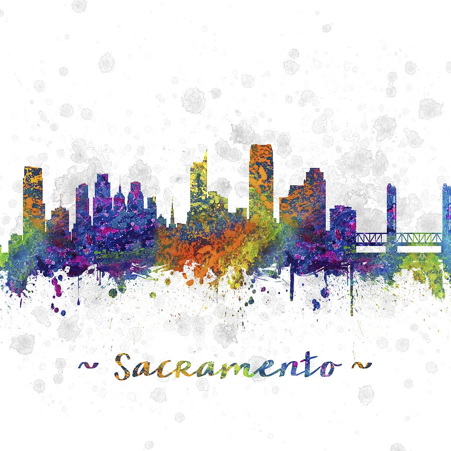 Sacramento California Skyline Color 03sq Digital Art By