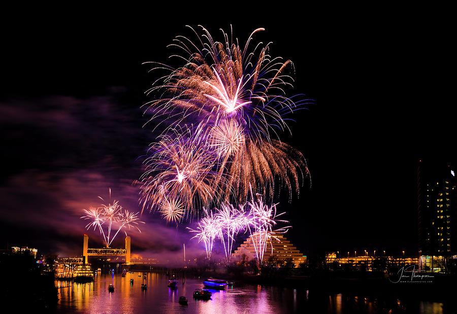Bridges Photograph - Sacramento Fireworks Composite 2 by Jim Thompson