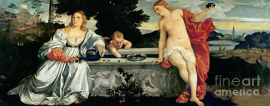 Sacred Painting - Sacred And Profane Love by Titian
