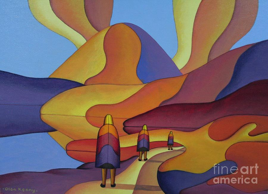 sacred mountain and 3 figures in ritual clothing by Alan Kenny