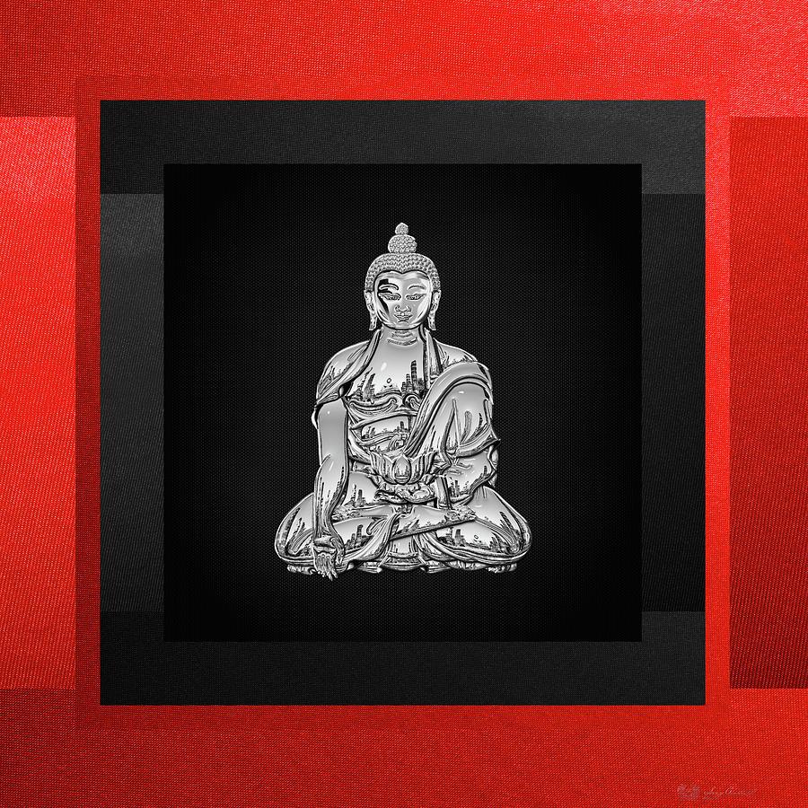 Buddha Digital Art - Sacred Symbols - Silver Buddha On Red And Black by Serge Averbukh