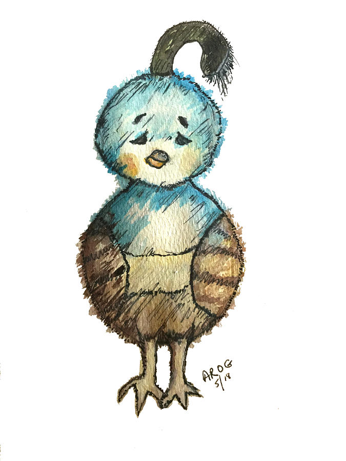 Baby Quail Painting By Aingeal Rose