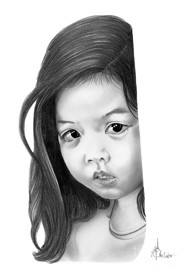 Sad Little Girl Drawing by Murphy Elliott