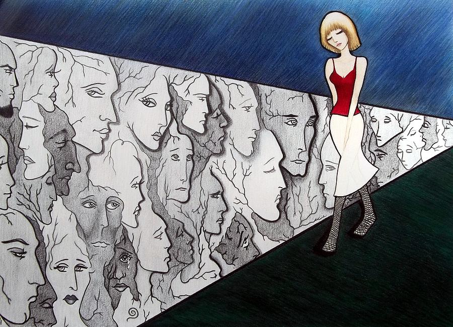 Drawing Drawing - Sad Stroll For Down Doll by Danielle R T Haney